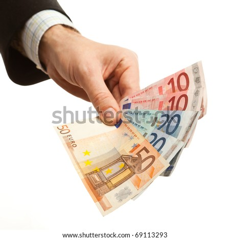 Man holding euro currency