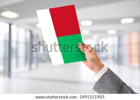 Man Holding Flag of Madagascar. Madagascar in Hand.