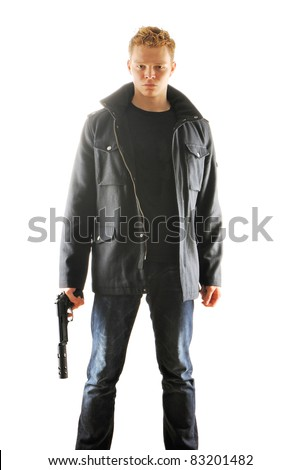 Man holding gun with silencer over white