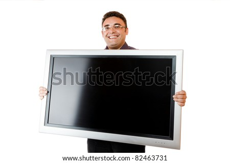 Man holding in hands lcd tv isolated over white background