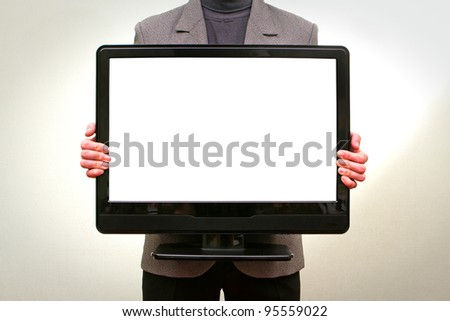 Man holding in hands lcd tv with blank screen