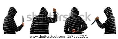 Man holding  kitchen knife isolated on white background.The concept is to hold the knife of various types of killers.