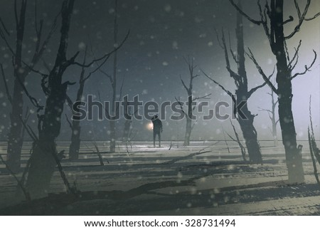 Stock Photo man holding lantern stands in dark forest with fog,illustration painting