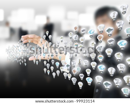 Man holding light bulb object