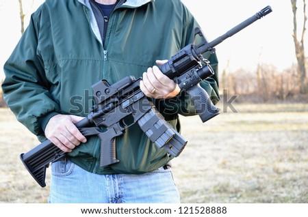 Man holding M4 Rifle
