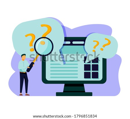 Man holding magnifying glass and looking through it at interrogation points. Concept of frequently asked questions, query, investigation, search for information. Modern flat  illustration. Сток-фото ©