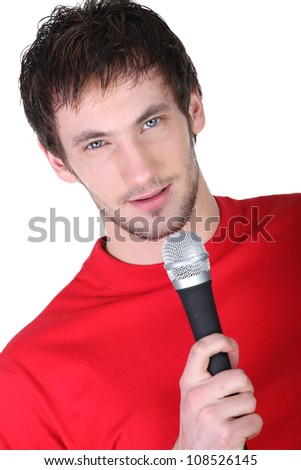 Man holding microphone