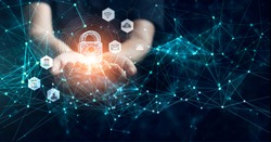 Man holding network security in hands, global. Cyber security and information or data networking protection, Privacy business internet technology.