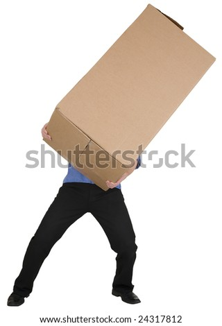 Man holding on hands big cardboard box