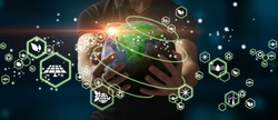Man holding planet Earth as a green, ecological and renewable energy world concept. Eco concept, ecology, clean energy and environment. Elements of this image furnished by NASA