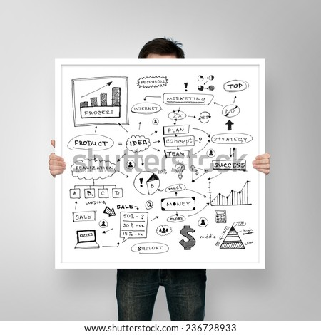 man holding poster business plan with frame #236728933
