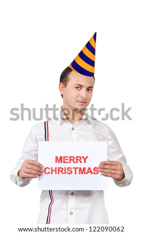 man holding poster with marry christmas