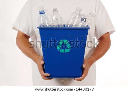 man holding recycle trash can