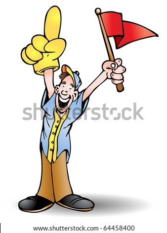 man holding red flag cheering his team isolated on white background