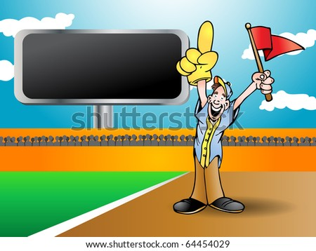man holding red flag cheering his team to win from side field
