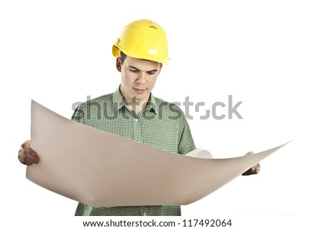 man holding rolled-up drawings
