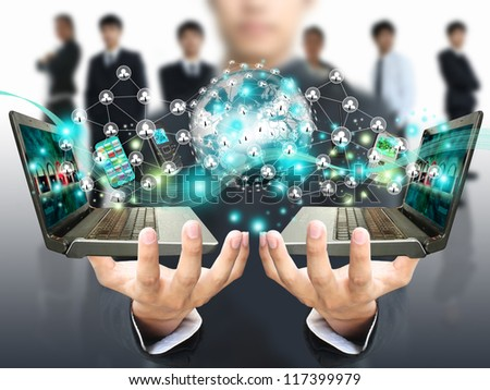 Man holding social network