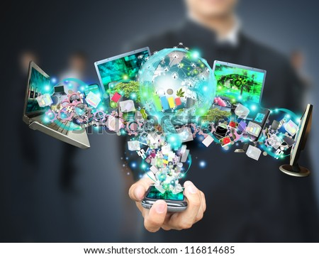 Man holding social object