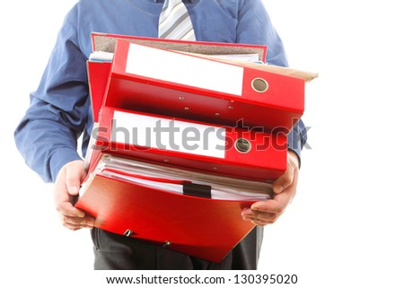 Man holding stack of folders. Pile with old documents and bills. Isolated on white background