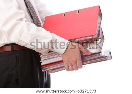 man holding stack of folders Pile with old documents and bills. Isolated on white background