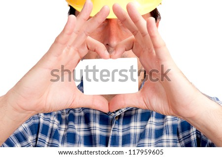 Man holding the blank card in the form of heart. Selective focus on the blank card, - stock photo