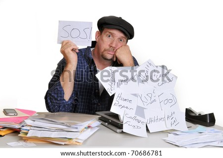 Man holding up an S.O.S. sign in need of help with his financial situation.