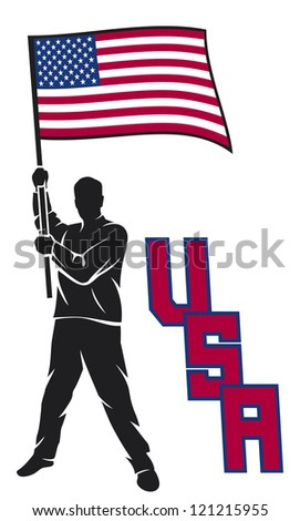 man holding USA flag (United States of America)