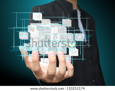 Man holding virtual box object