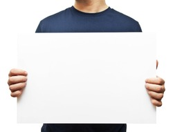 man holding white blank billboard