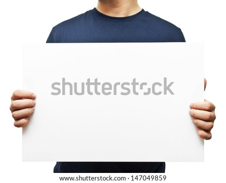 man holding white blank billboard