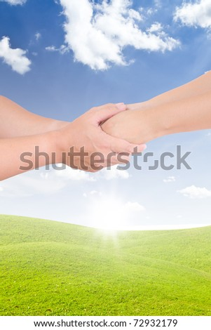 man holding woman hand