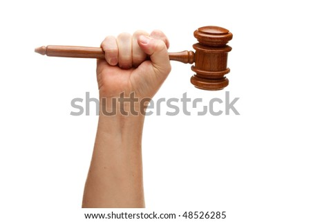 Man Holding Wooden Gavel in His Fist Isolated on a White Background.