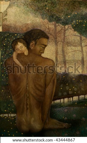 man holds a child at the hands, painting on canvas