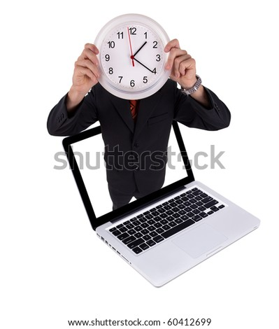 Man holds clock in laptop, isolated on white