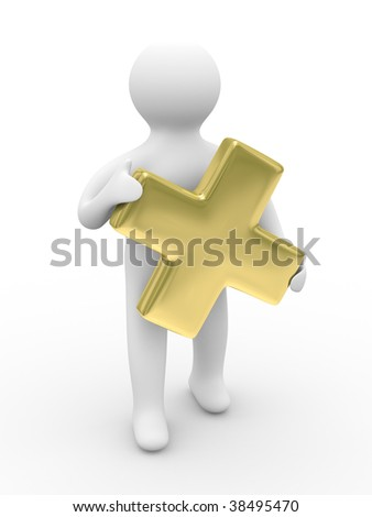 Man holds sign plus on white background. Isolated 3D image