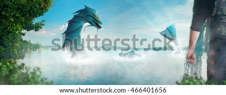 Stock Photo Man hunting a real water monster at the lake. creative photo of real monster. monster in real life.