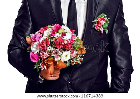 man husband , groom whith beautiful wedding bouquet on isolated background