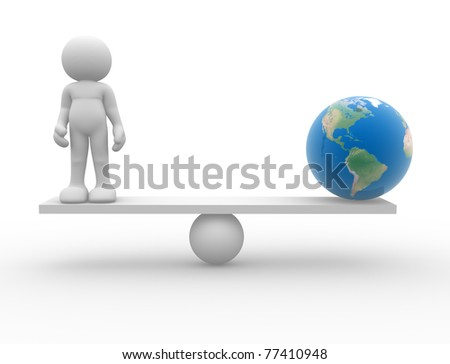 Man icon sitting in balance with Earth globe - 3d render