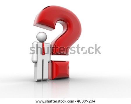 Man icon sitting under a question mark - 3d render