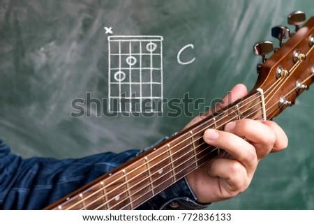 Man in a blue denim shirt playing guitar chords displayed on a blackboard, Chord C