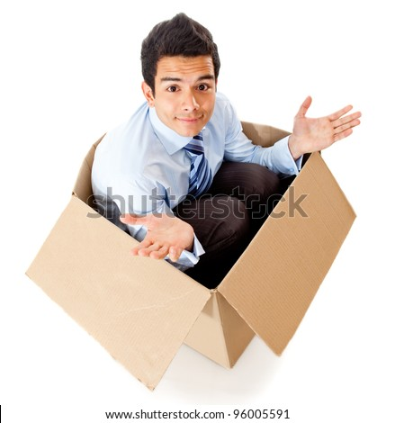 Man in a box looking frustrated for a failed delivery - isolated