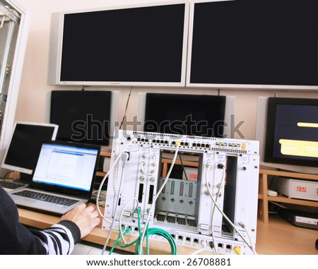 Man in a control center