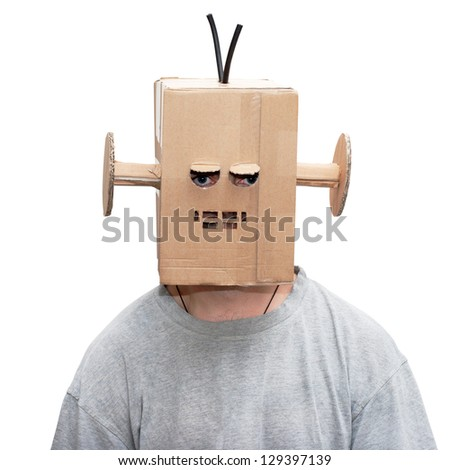 man in a funny suit cardboard robot