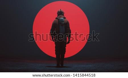 Man in a Hazmat Suit Walking Towards a Big Red Alien Sphere in a foggy void 3d Illustration 3d render Stockfoto ©