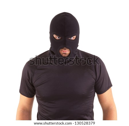 Man in a mask on white background