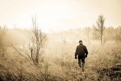 Man in a misty landscape