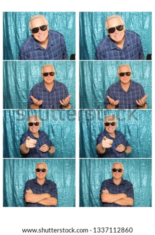 Man in a Photo Booth. A Man smiles and poses for photos to be taken in a photo booth. Photo Booth photo strips with a blue background.