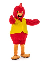 Man in a red chicken costume,full body isolated on white.,various pose,Perfect for mascot.