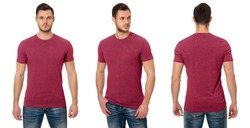 Man in a red T-shirt on a white background. Red T-shirt template, front view, side view, rear view