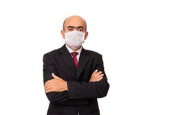 Man in a red tie and jacket, 50-year-old businessman, wearing protective mask against invite-10, coronavirus